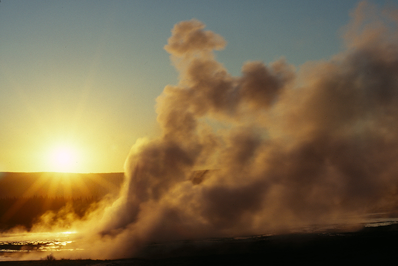 Sunset, Clepsydra Geyser, Yellowstone